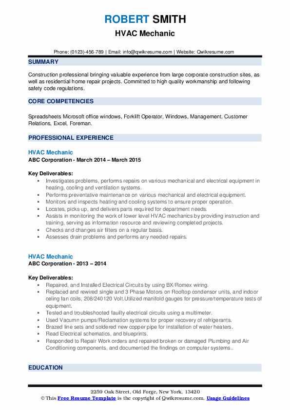 HVAC Mechanic Resume example