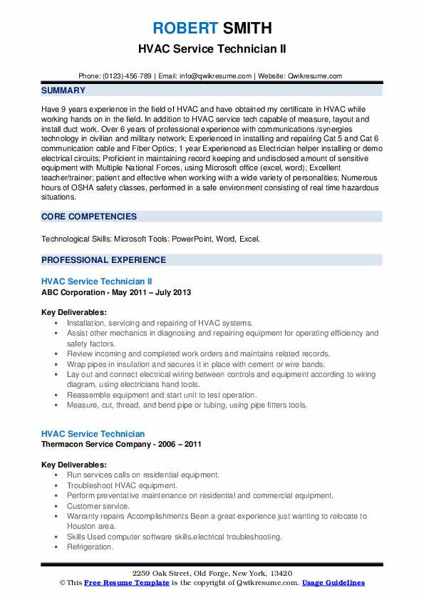 Hvac Service Technician Resume Samples Qwikresume