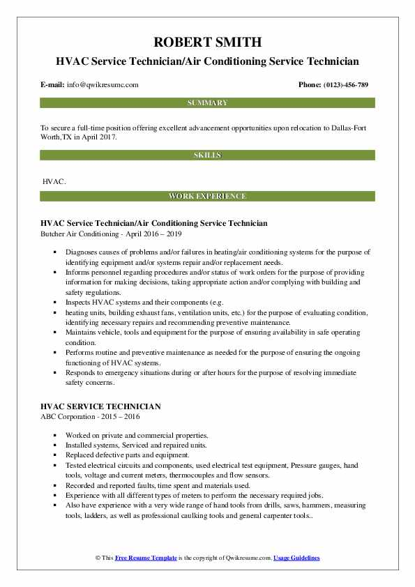 HVAC Service Technician/Air Conditioning Service Technician Resume Example