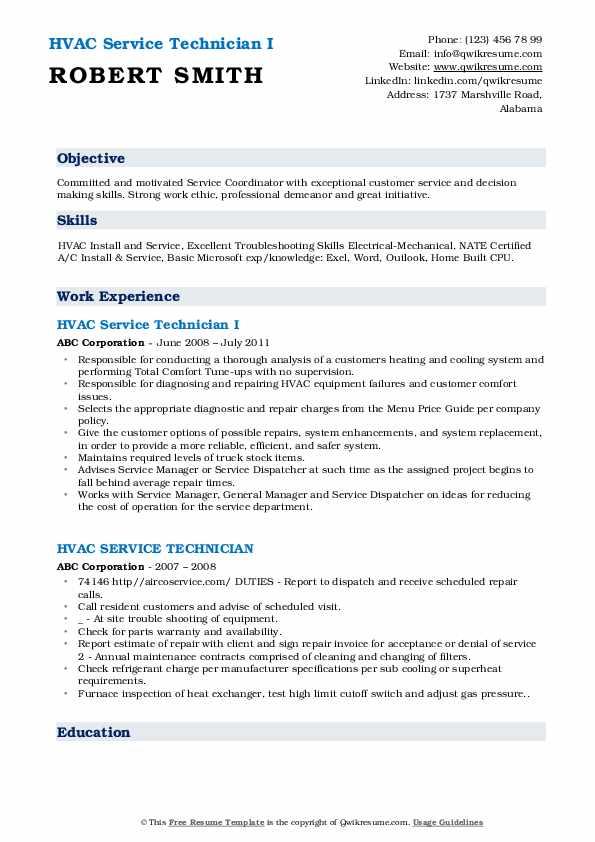 HVAC Service Technician I Resume Model