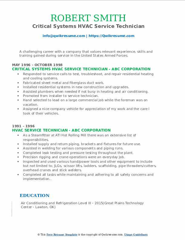 Critical Systems HVAC Service Technician Resume Template