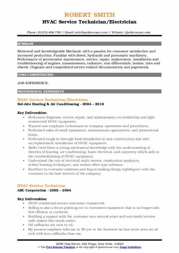 HVAC Service Technician/Electrician Resume Format