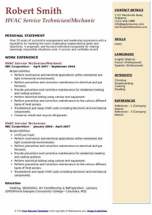 HVAC Service Technician/Mechanic Resume Example