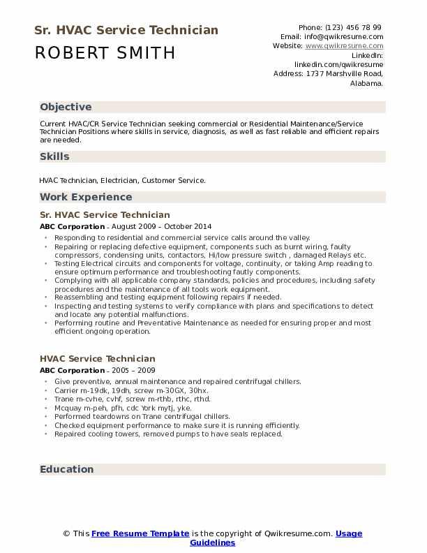 Sr. HVAC Service Technician Resume Model