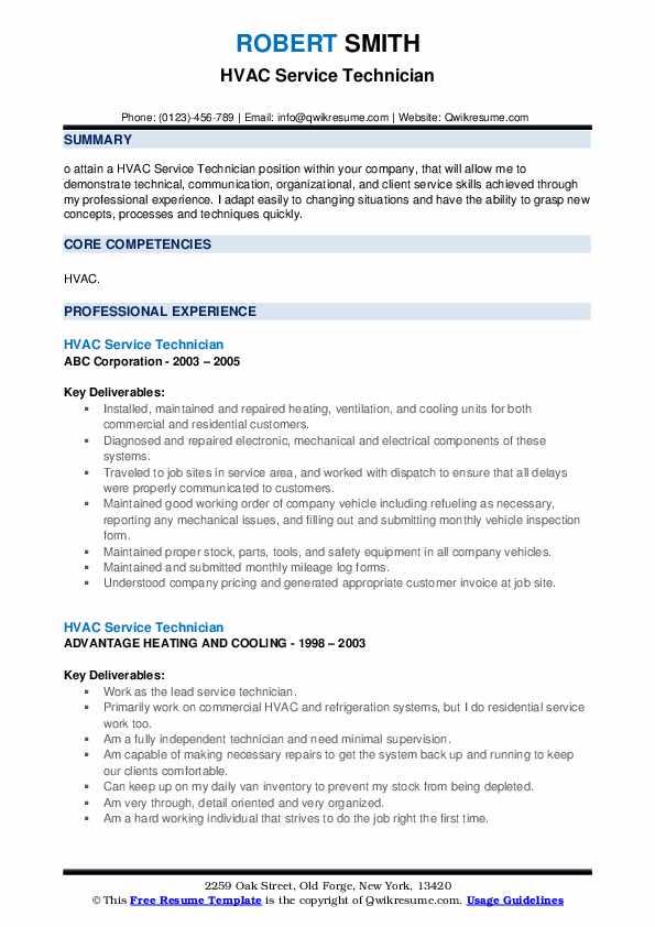 HVAC Service Technician Resume example
