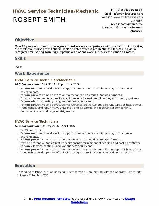 HVAC Mechanic Resume Samples | QwikResume
