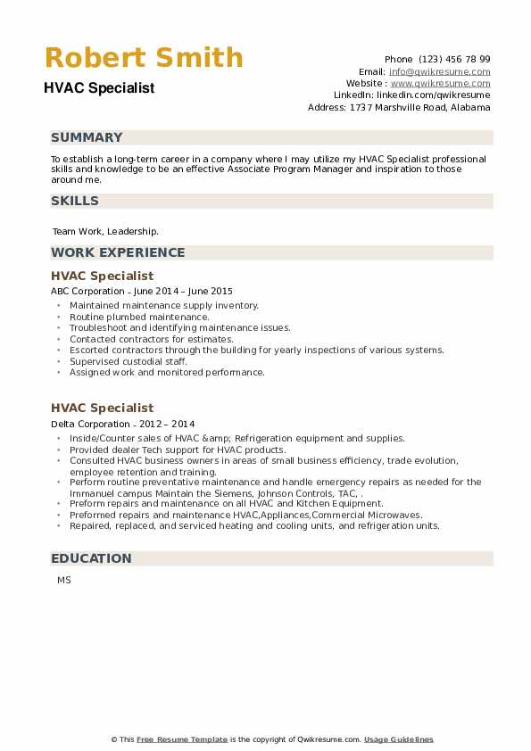 HVAC Specialist Resume example