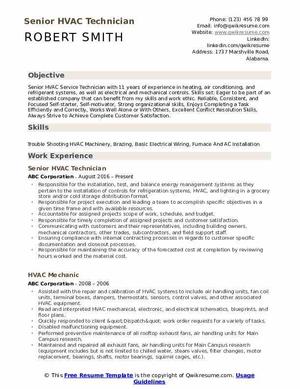 Senior HVAC Technician Resume Model