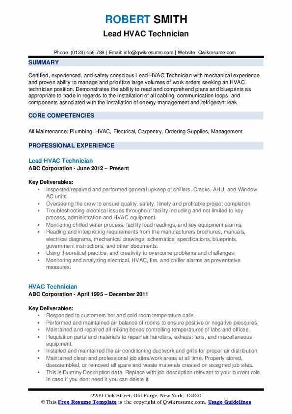 Lead HVAC Technician Resume Model