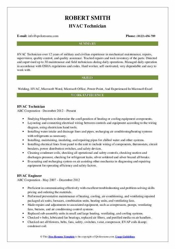 Hvac Technician Resume Samples | QwikResume