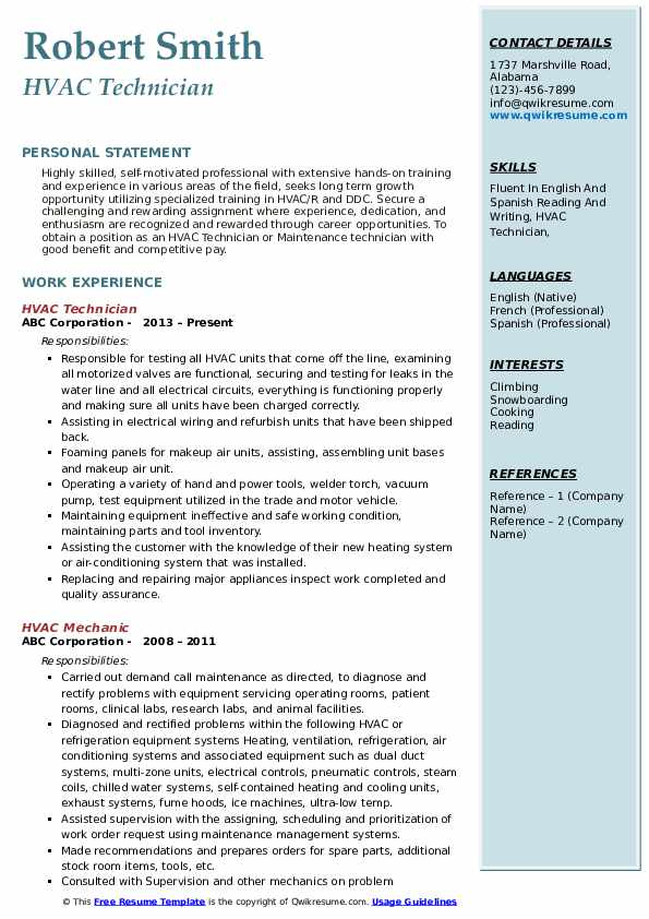 Hvac Technician Resume Samples Qwikresume