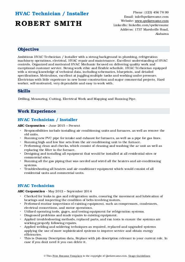 hvac technician resume samples