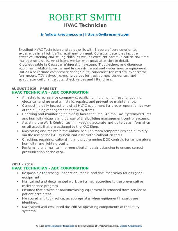 HVAC Technician Resume Format