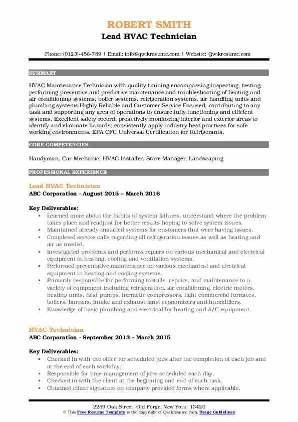Lead HVAC Technician Resume Example