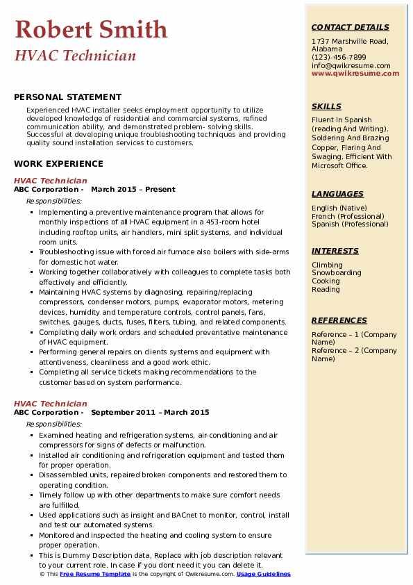 HVAC Technician Resume Model