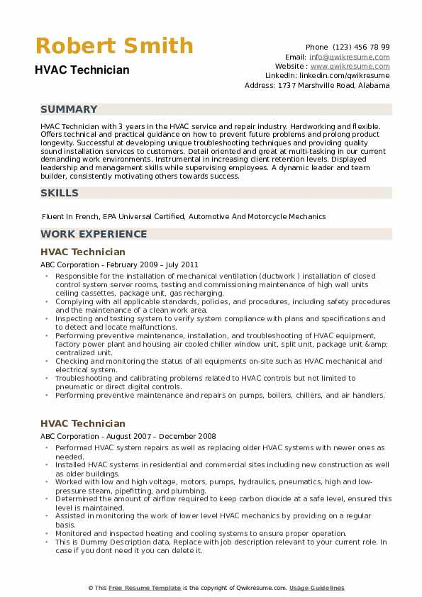 hvac-technician-1556530082-pdf Hvac Resume Format on sheet metal worker, pics for, templates free, objective statement,