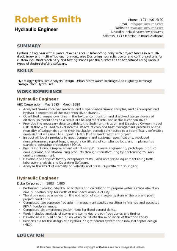 Hydraulic Engineer Resume example