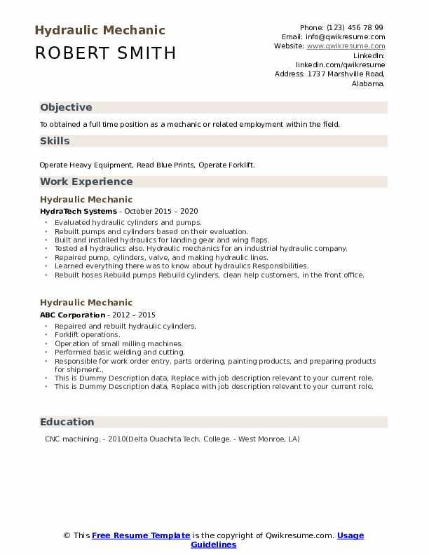 Hydraulic Mechanic Resume example