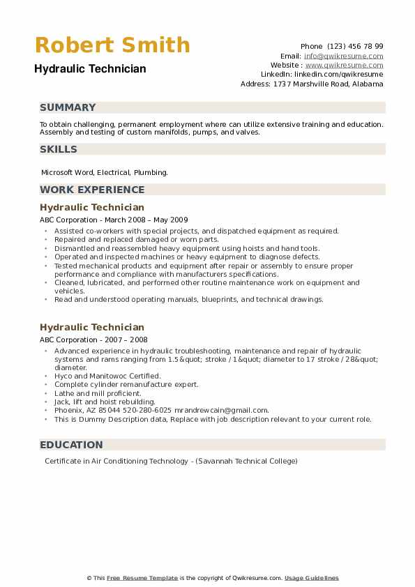Hydraulic Technician Resume example