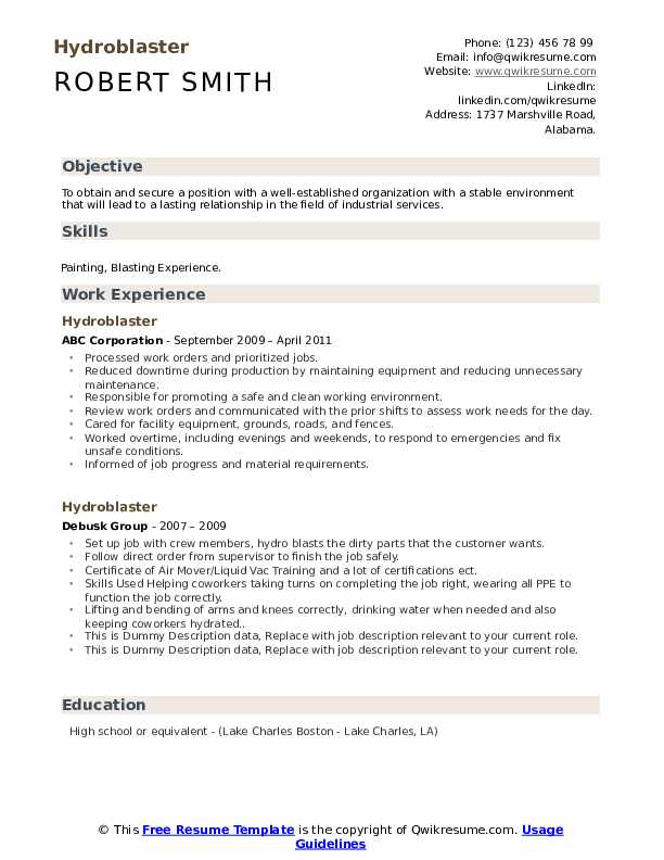 Hydroblaster Resume example