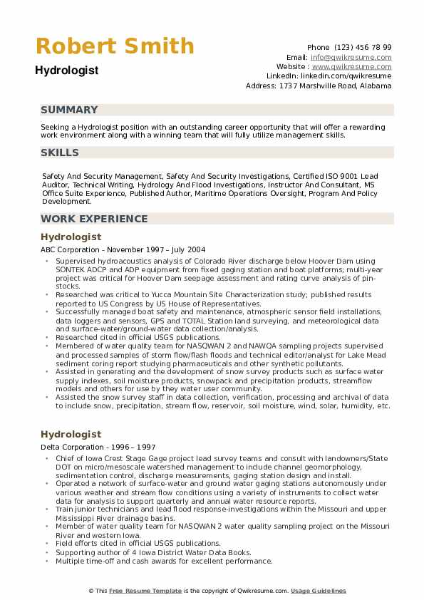 Hydrologist Resume example
