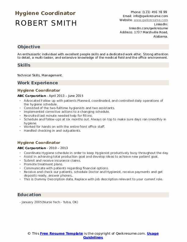 Hygiene Coordinator Resume example