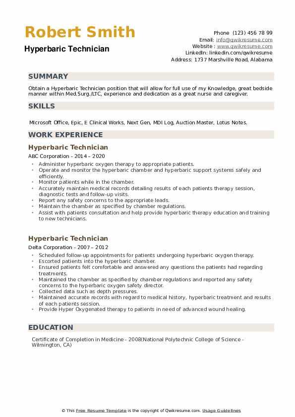 Hyperbaric Technician Resume example