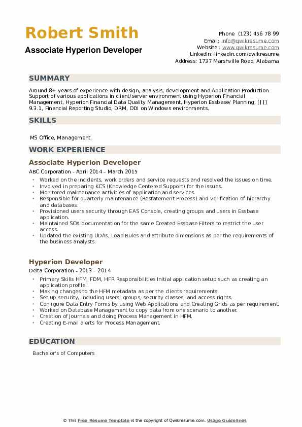 Hyperion Developer Resume example