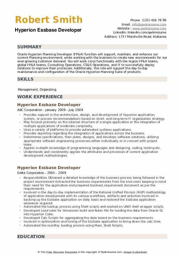 Hyperion Essbase Developer Resume example