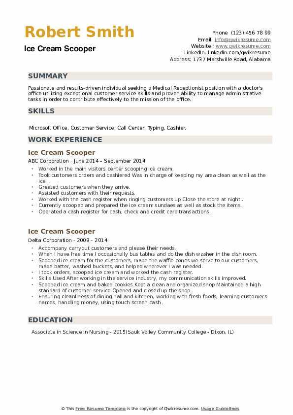 Ice Cream Scooper Resume example