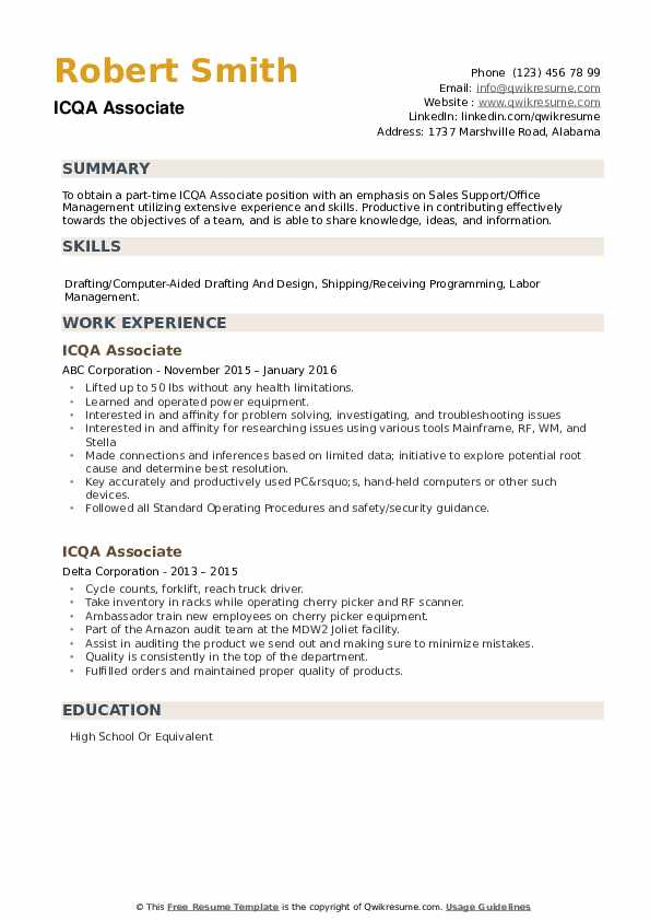 ICQA Associate Resume example