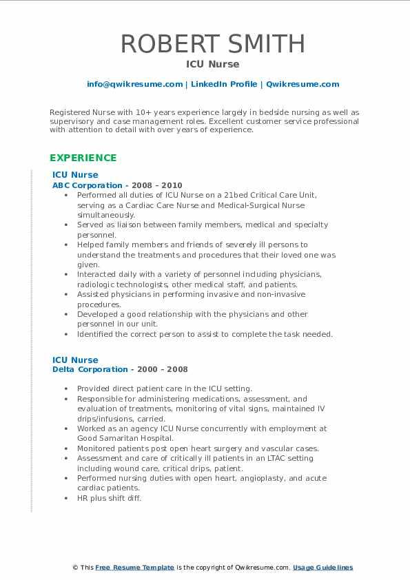 ICU Nurse Resume Samples | QwikResume