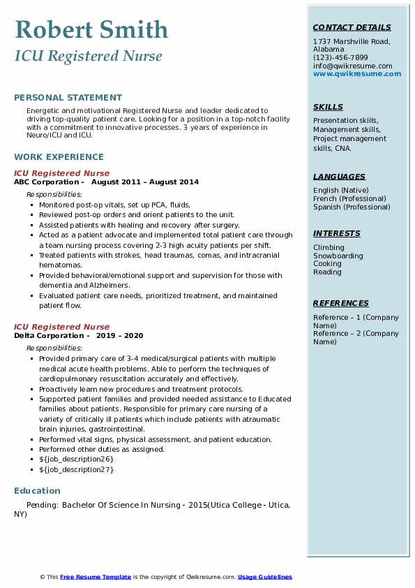 icu registered nurse resume samples  qwikresume