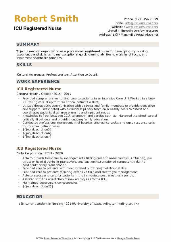 ICU Registered Nurse Resume example