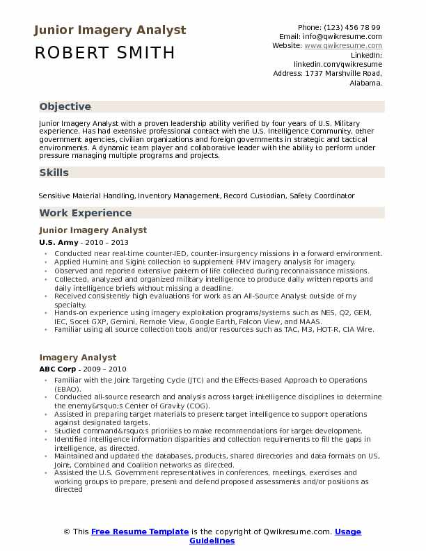 Junior Imagery Analyst Resume Template