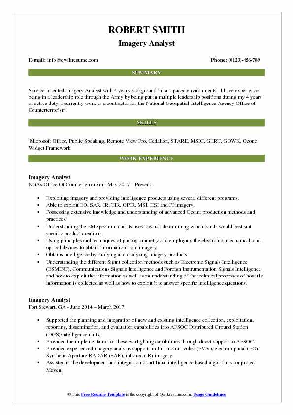 Imagery Analyst Resume Model