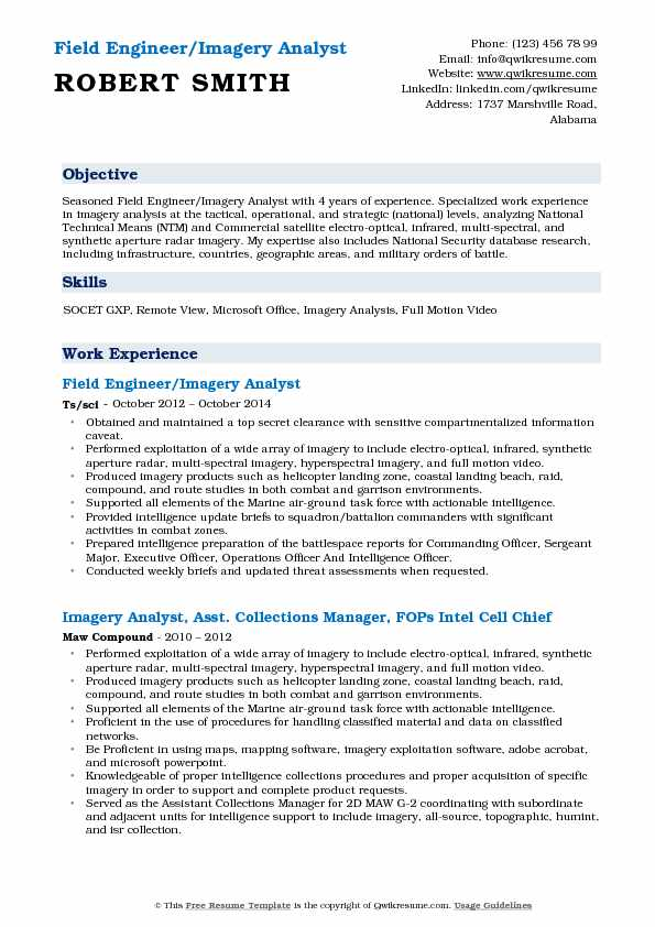 Imagery Analyst Resume Samples | QwikResume
