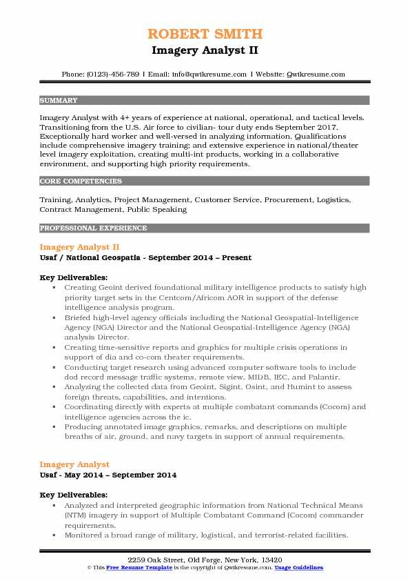 imagery analyst resume samples