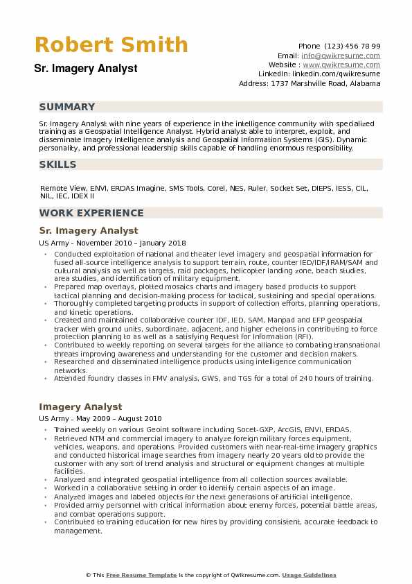 Imagery Analyst Resume example