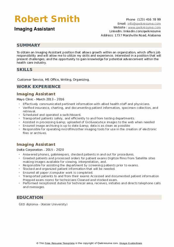 Imaging Assistant Resume example