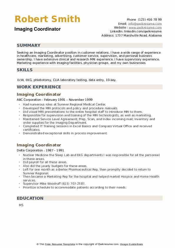 Imaging Coordinator Resume example