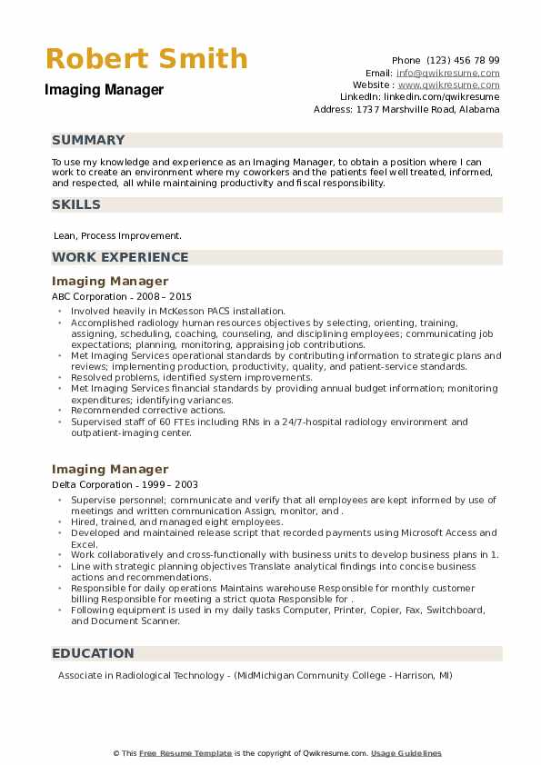 Imaging Manager Resume example
