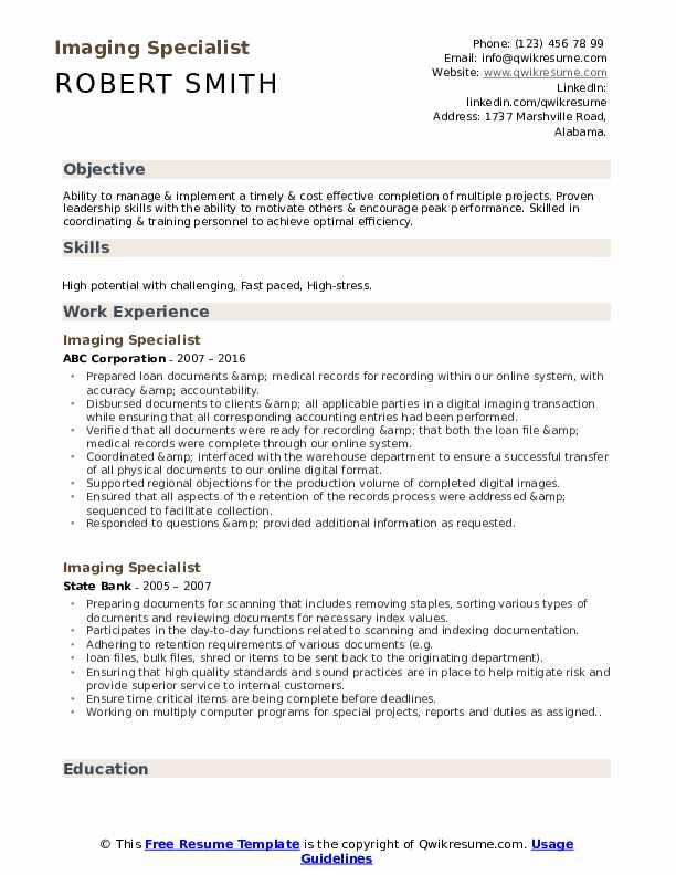 Imaging Specialist Resume Sample