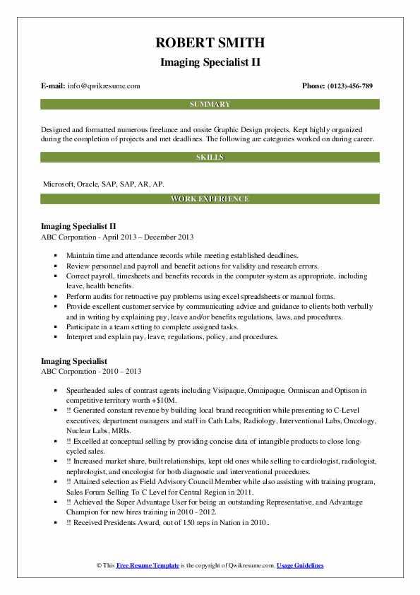 Imaging Specialist II Resume Sample