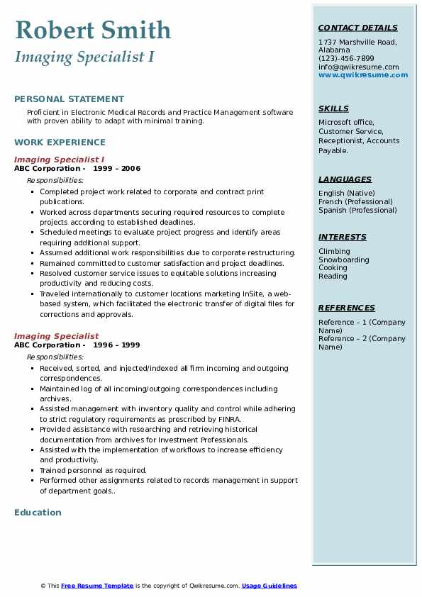 Imaging Specialist I Resume Template