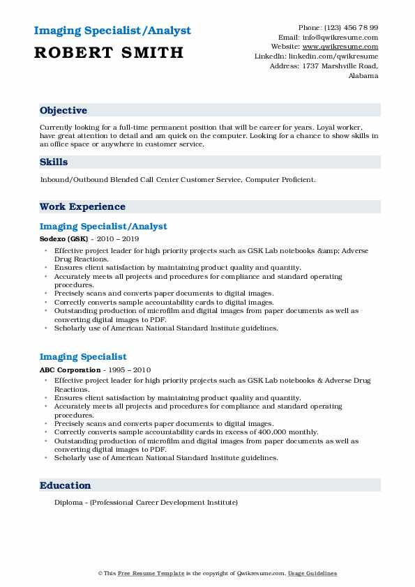 Imaging Specialist/Analyst Resume Sample