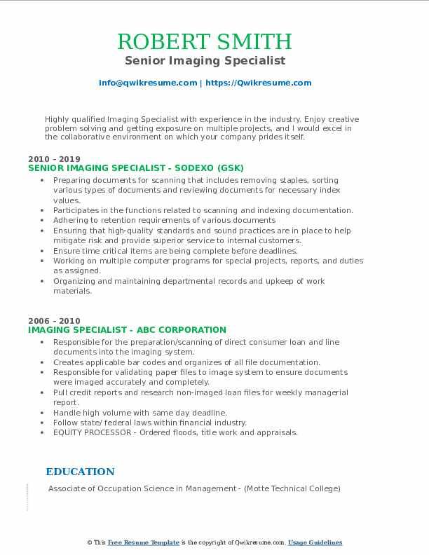 Senior Imaging Specialist Resume Model