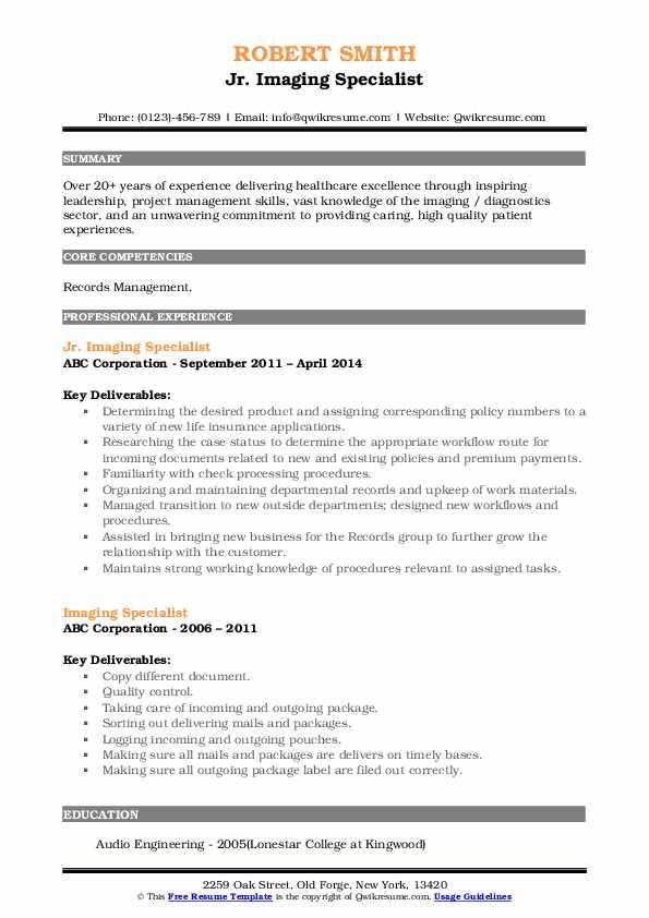 Jr. Imaging Specialist Resume Format