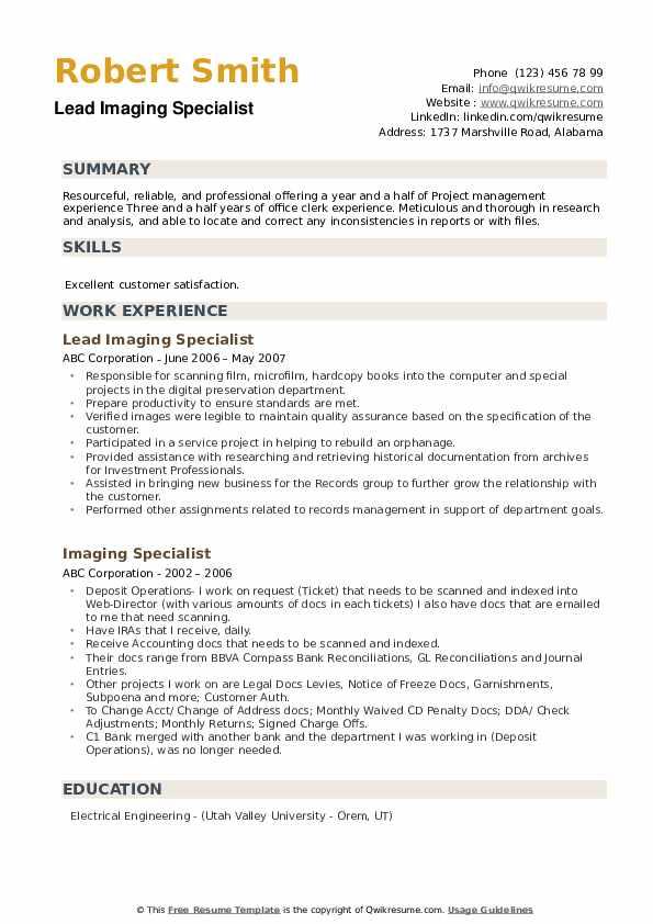 Lead Imaging Specialist Resume Sample