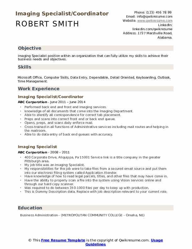 Imaging Specialist/Coordinator Resume Sample